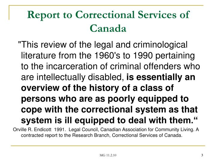 Report to correctional services of canada