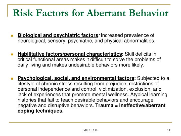 Risk Factors for Aberrant Behavior