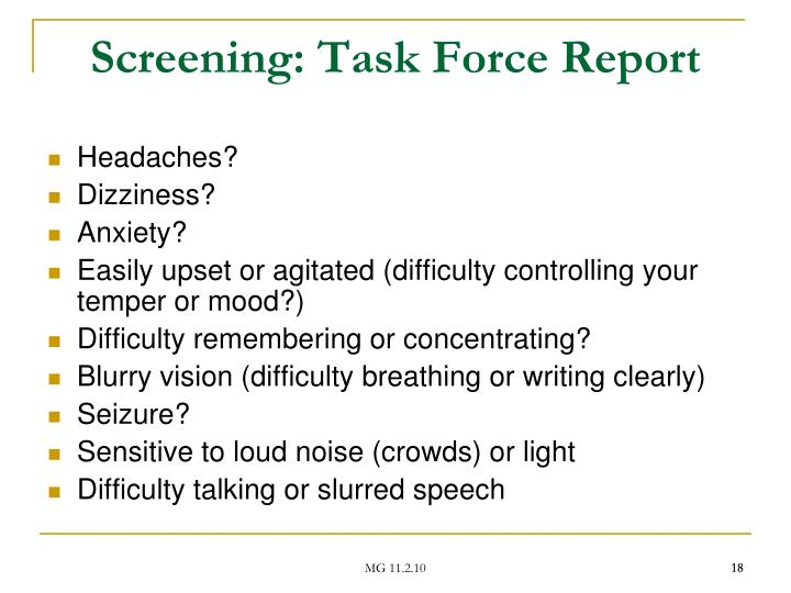 Screening: Task Force Report