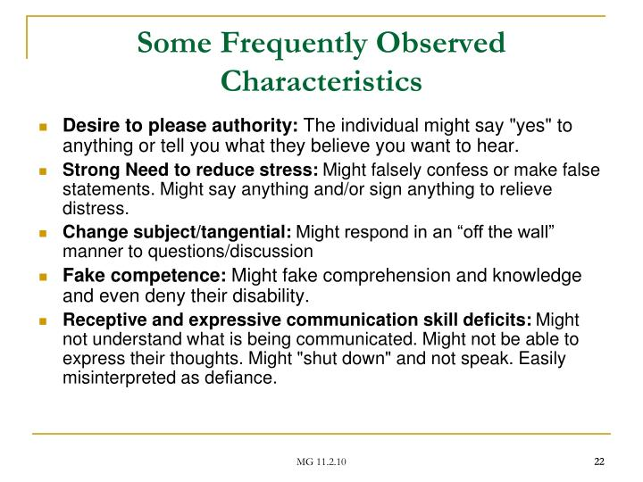 Some Frequently Observed Characteristics