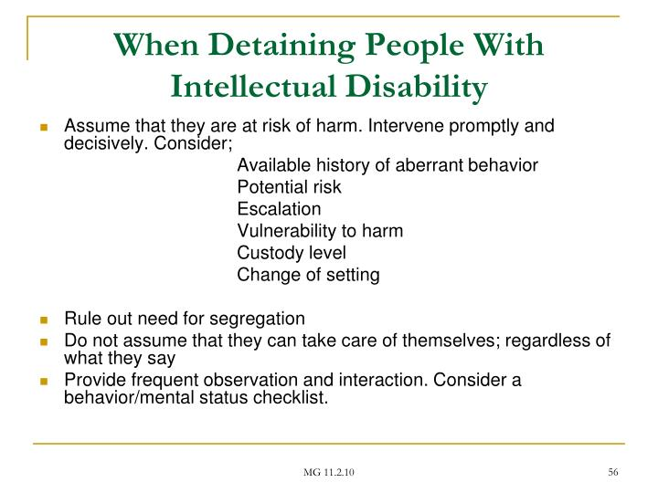 When Detaining People With Intellectual Disability