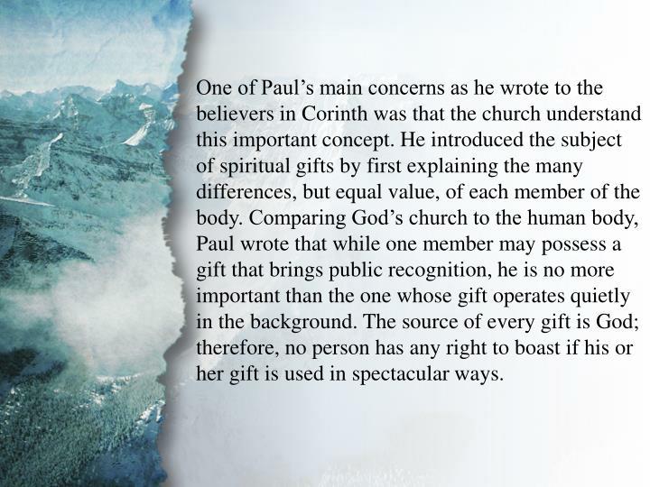 I. Understanding Spiritual Gifts (A)