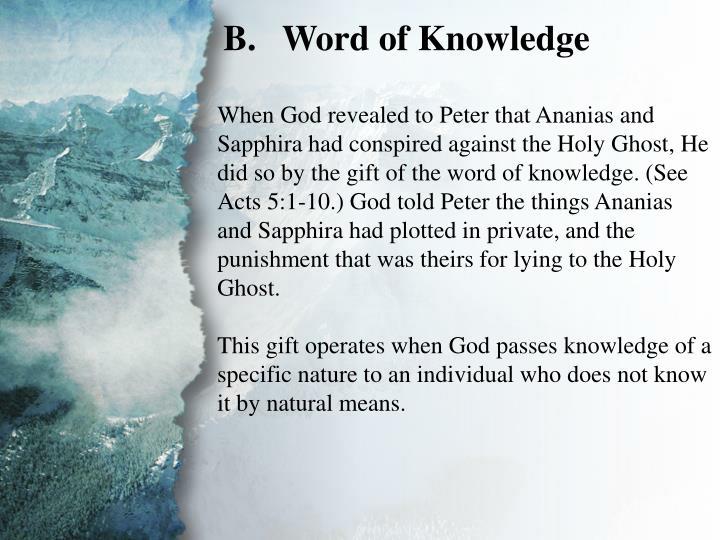 II. Gifts of Revelation (B)