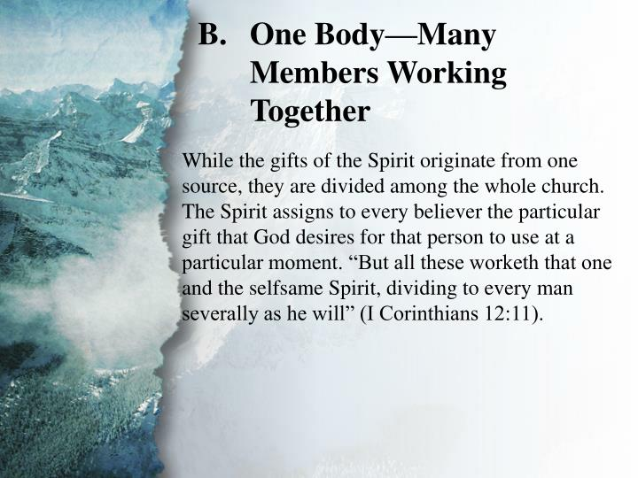 V. Gifts for Edification of the Body (B)