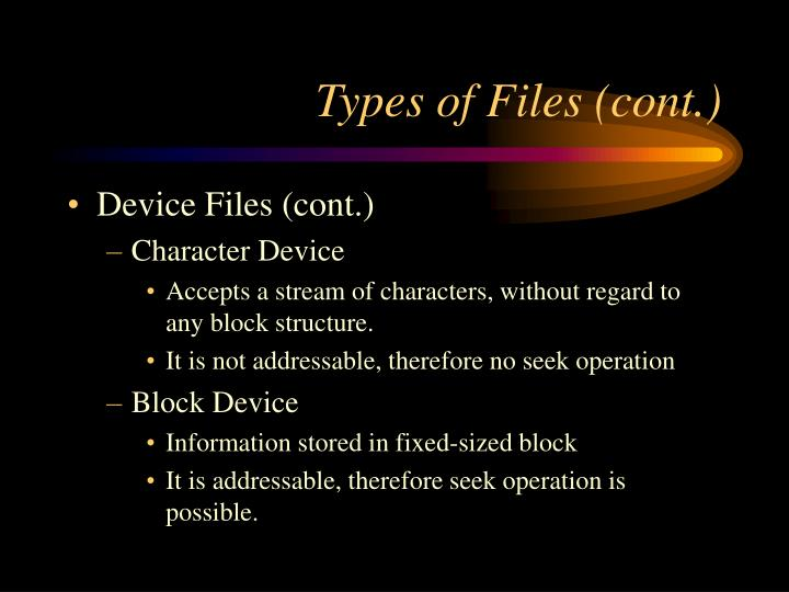 Types of Files (cont.)
