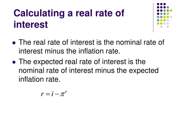 Calculating a real rate of interest