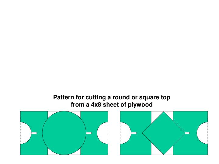 Pattern for cutting a round or square top from a 4x8 sheet of plywood