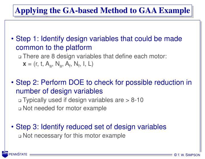 Applying the GA-based Method to GAA Example