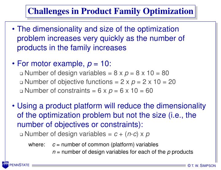 Challenges in Product Family Optimization