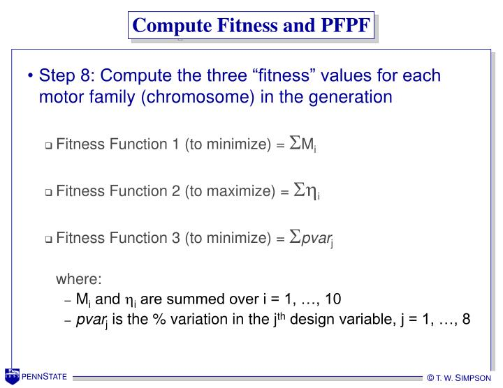 Compute Fitness and PFPF