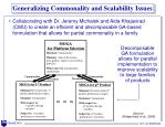 generalizing commonality and scalability issues