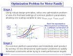 optimization problem for motor family