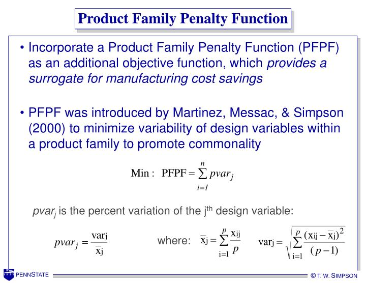 Product Family Penalty Function