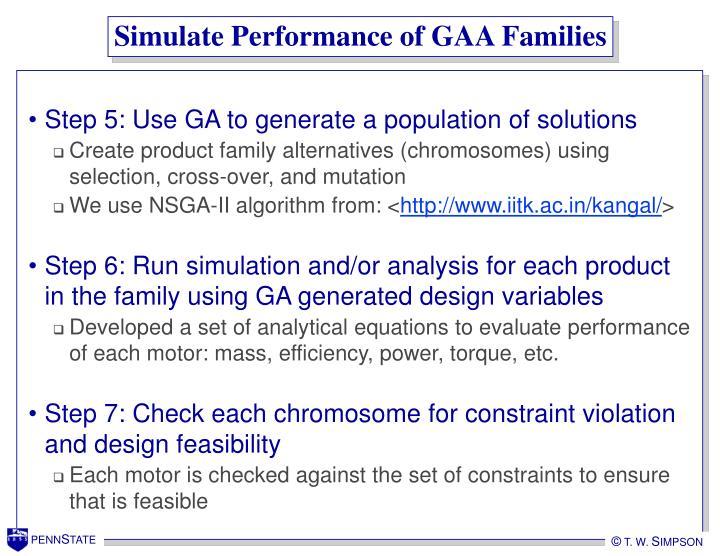 Simulate Performance of GAA Families