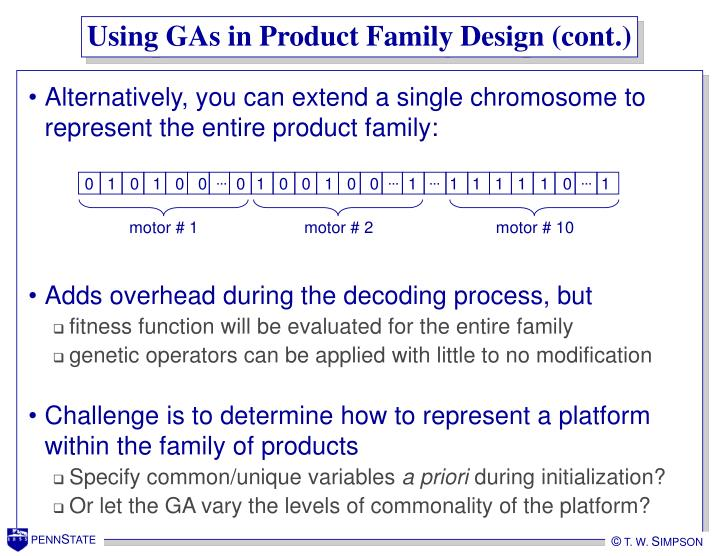 Using GAs in Product Family Design (cont.)