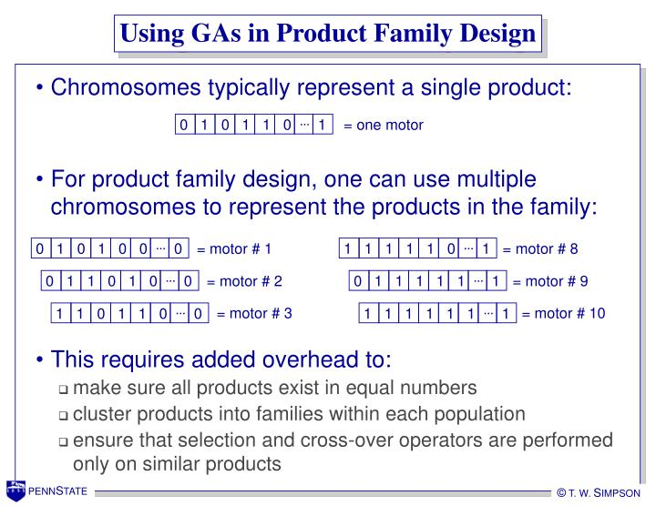 Using GAs in Product Family Design