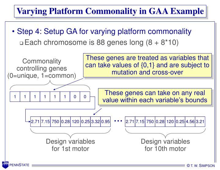Varying Platform Commonality in GAA Example