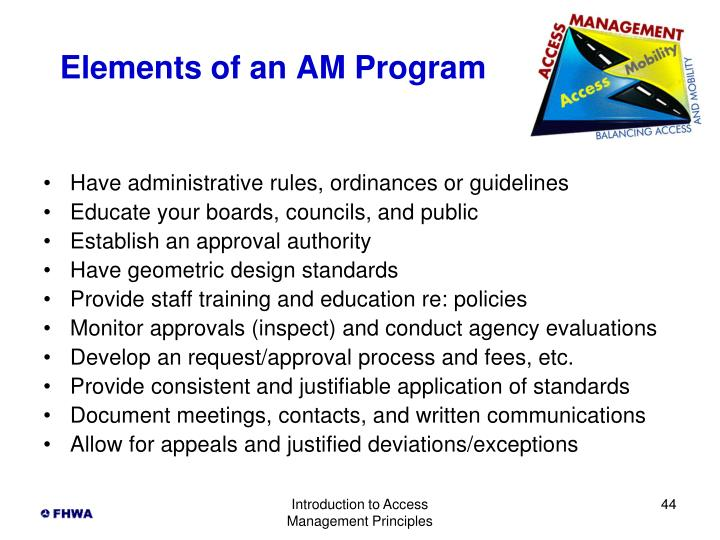 Elements of an AM Program