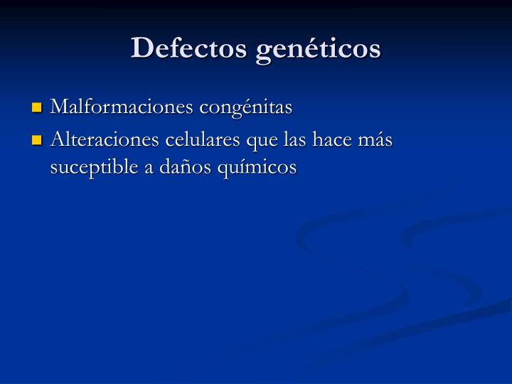 Defectos genéticos