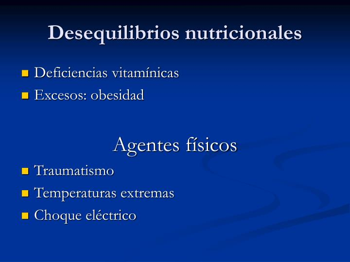 Desequilibrios nutricionales