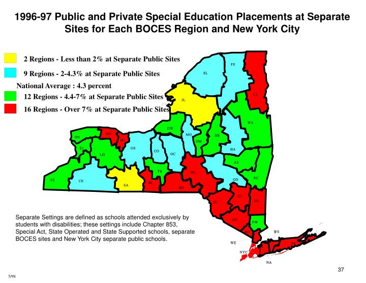 1996-97 Public and Private Special Education Placements at Separate Sites for Each BOCES Region and New York City