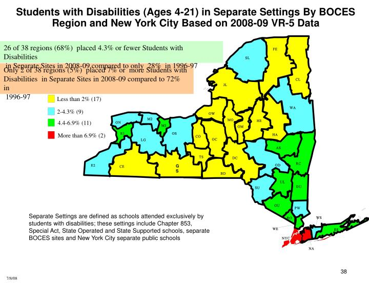 Students with Disabilities (Ages 4-21) in Separate Settings By BOCES Region and New York City Based on 2008-09 VR-5 Data