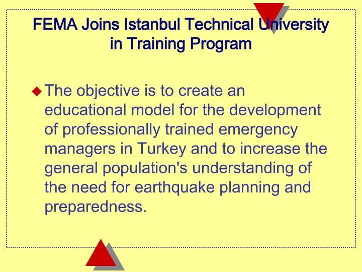 FEMA Joins Istanbul Technical University in Training Program