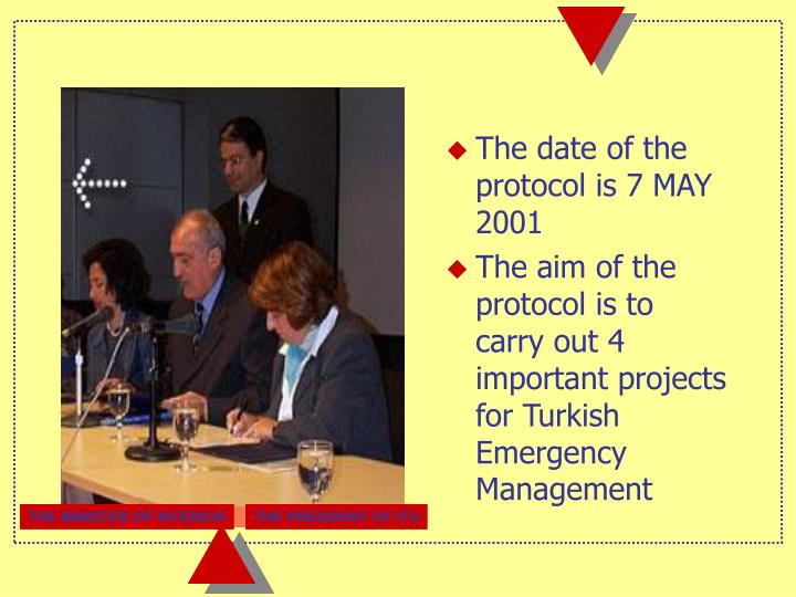 The date of the protocol is 7 MAY 2001