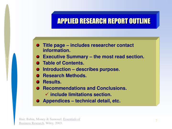 APPLIED RESEARCH REPORT OUTLINE