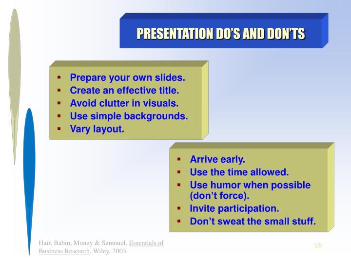 PRESENTATION DO'S AND DON'TS