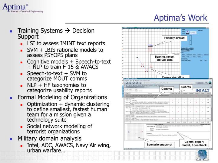 Aptima's Work
