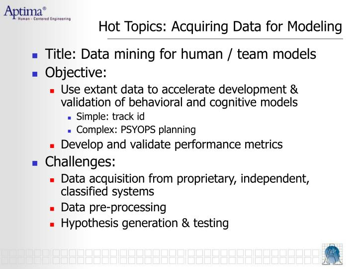 Hot Topics: Acquiring Data for Modeling