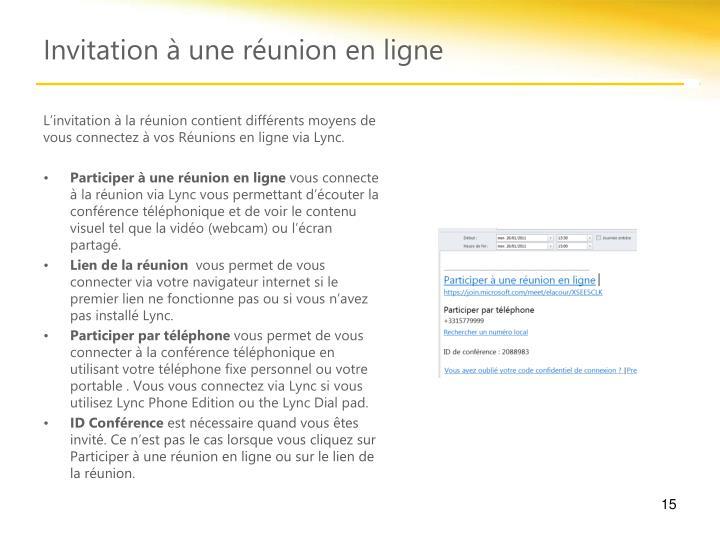 L'invitation à la réunion contient différents moyens de vous connectez à vos Réunions en ligne via Lync.