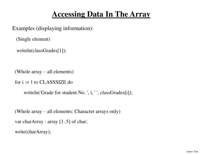 Accessing Data In The Array