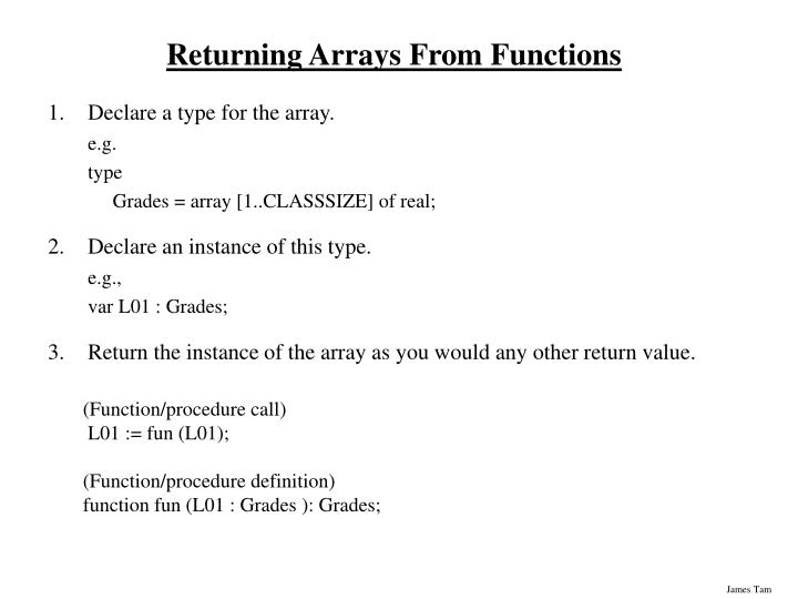 Returning Arrays From Functions