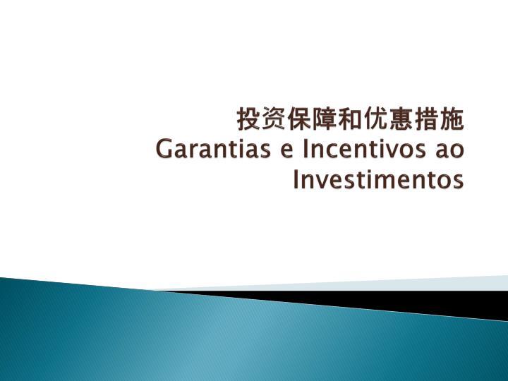 投资保障和优惠措施