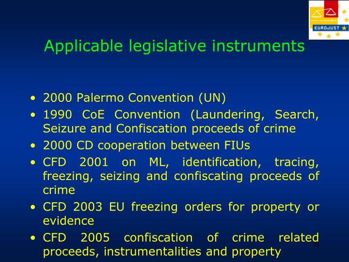 Applicable legislative instruments