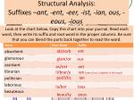 structural analysis suffixes ant ent eer ist ian ous eous ious2