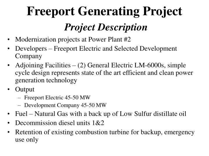 Freeport generating project project description