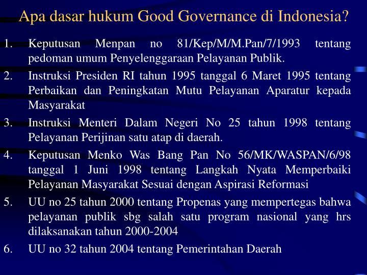 Apa dasar hukum Good Governance di Indonesia?
