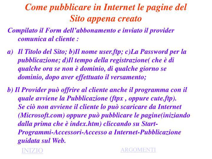 Come pubblicare in Internet le pagine del Sito appena creato