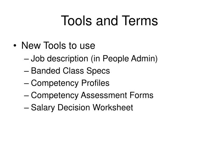 Tools and Terms