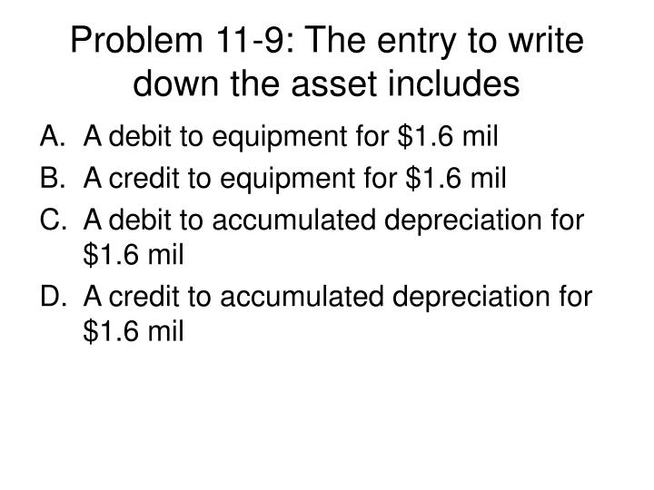 Problem 11-9: The entry to write down the asset includes