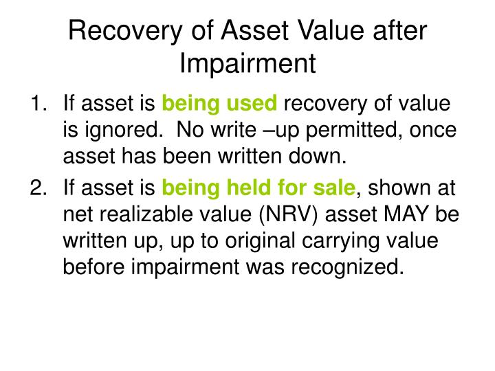 Recovery of Asset Value after Impairment