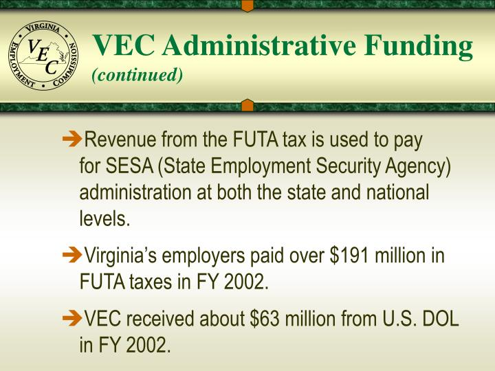 VEC Administrative Funding