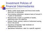 investment policies of financial intermediaries
