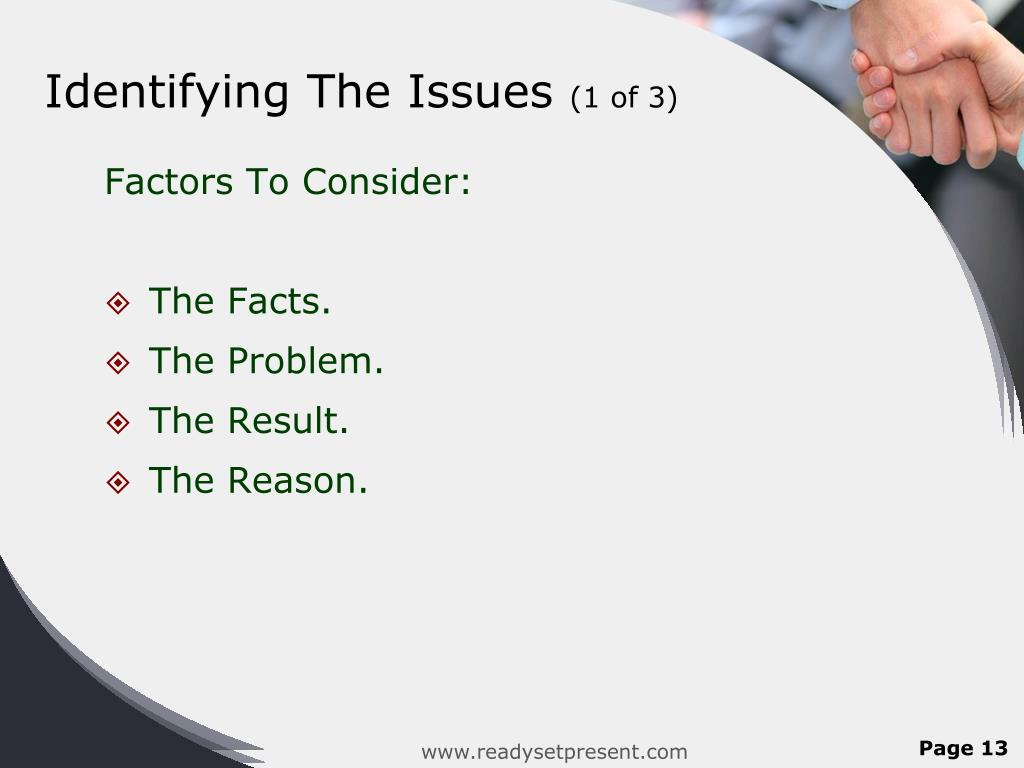 Identifying The Issues
