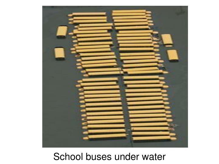 School buses under water