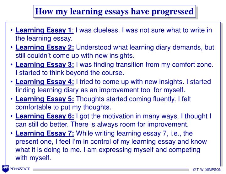 How my learning essays have progressed