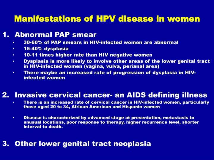 Manifestations of HPV disease in women